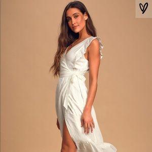 Something to See white Ruffle Wrap Dress